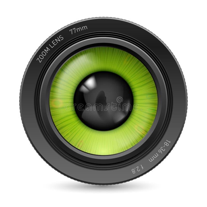 Camera lens. On white camera lens green eyes royalty free illustration