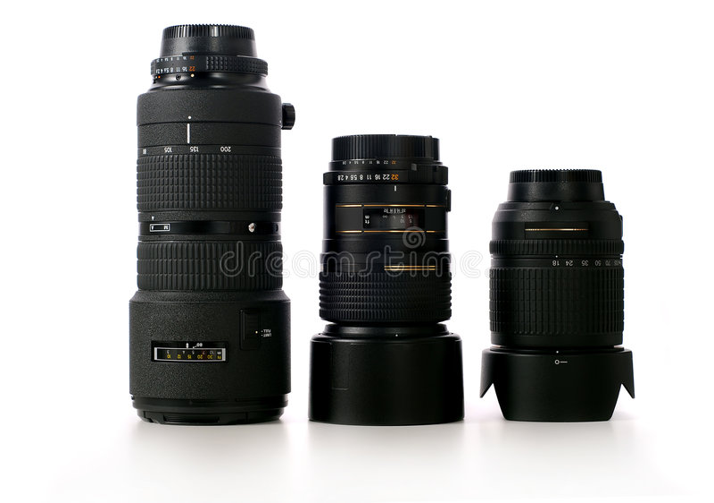 Camera lenses stock photo