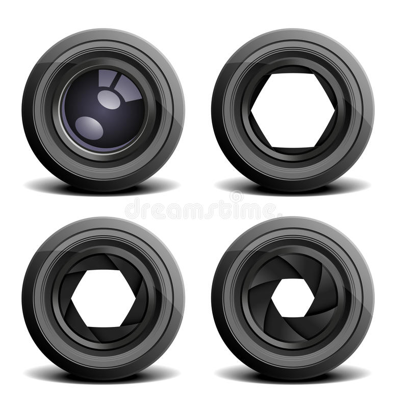 Camera lenses. Detailed illustration of camera lenses royalty free illustration