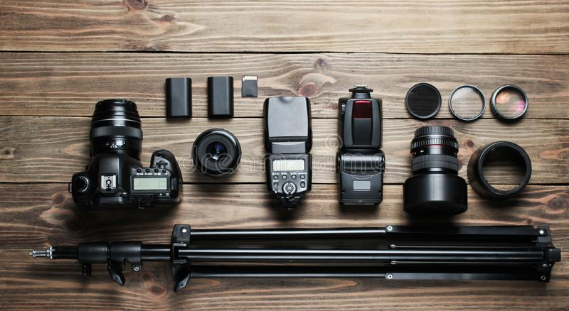 Camera and lenses stock photography