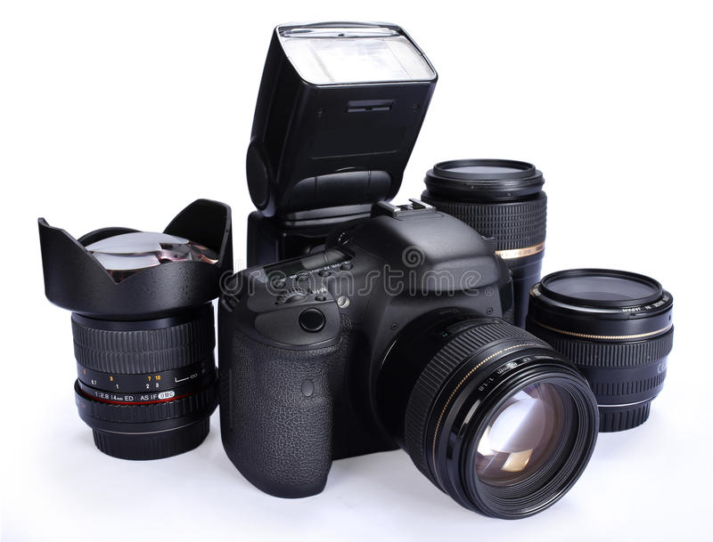 Camera and lenses stock images