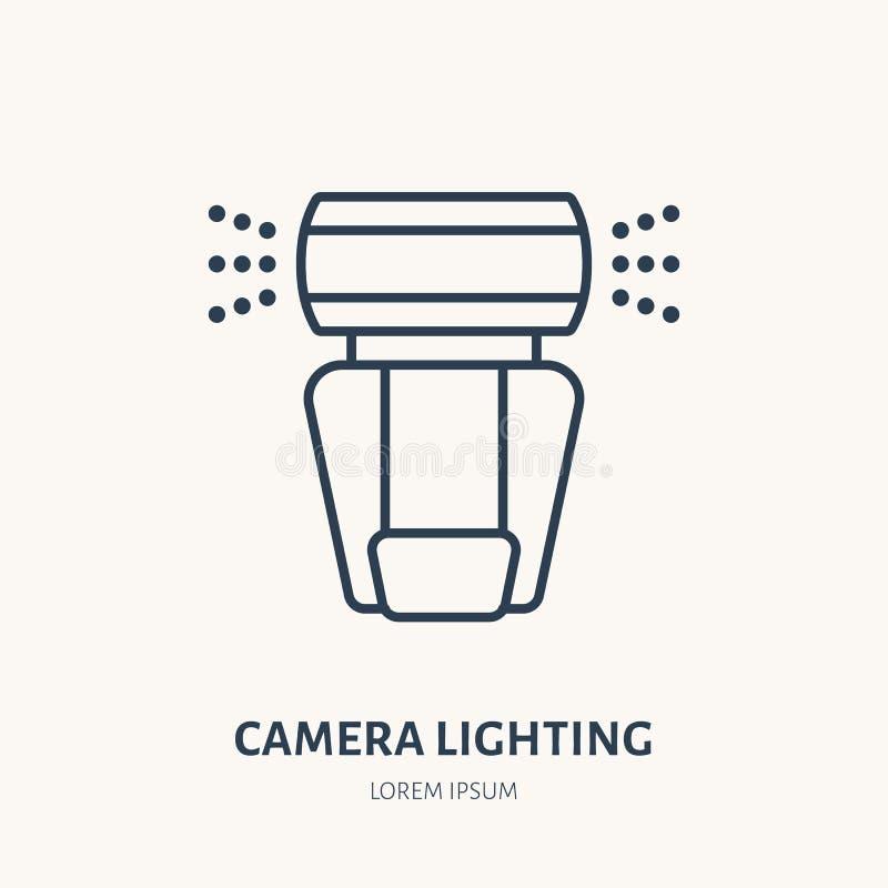 Camera lighting, flash flat line icon. Photography equipment sign. Thin linear logo for photo studio stock illustration