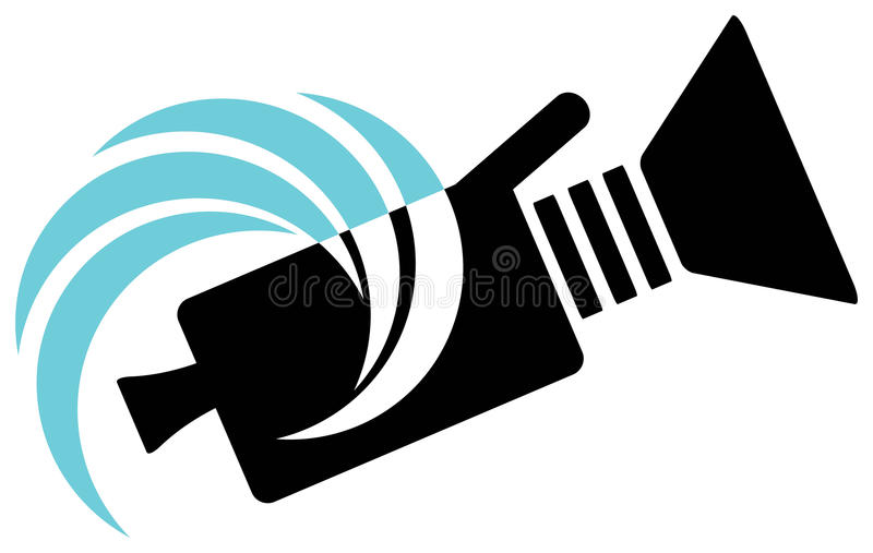 Camera logo. Isolated line art camera logo design stock illustration