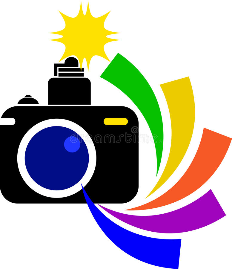 Camera logo. Illustration art of a camera logo with isolated background stock illustration