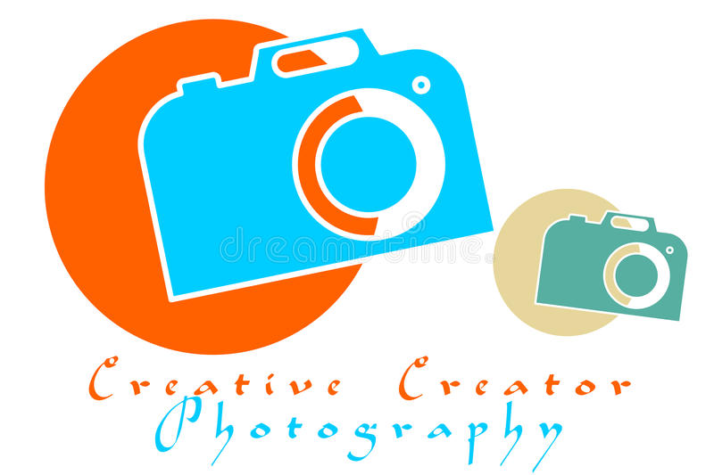 Camera Logo. Camera Illustration in two different Colors. Containing Words Creative Creator Photography. Photography Logo on white background camera logo with stock illustration
