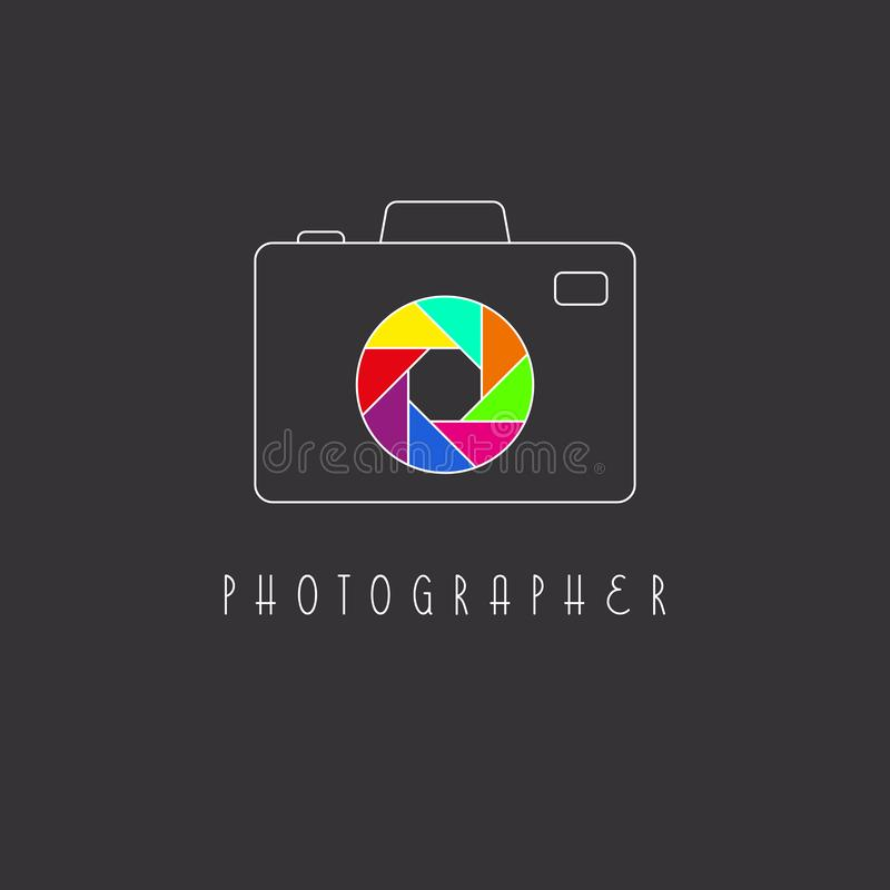 Camera logo, colored aperture of the lens icon. Camera logo mockup, colored aperture of the camera lens icon royalty free illustration