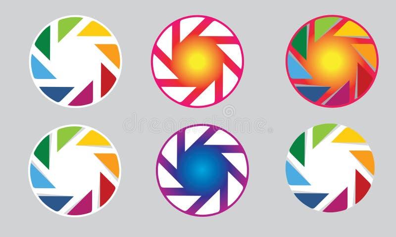 Camera logo lens aperture vector illustration
