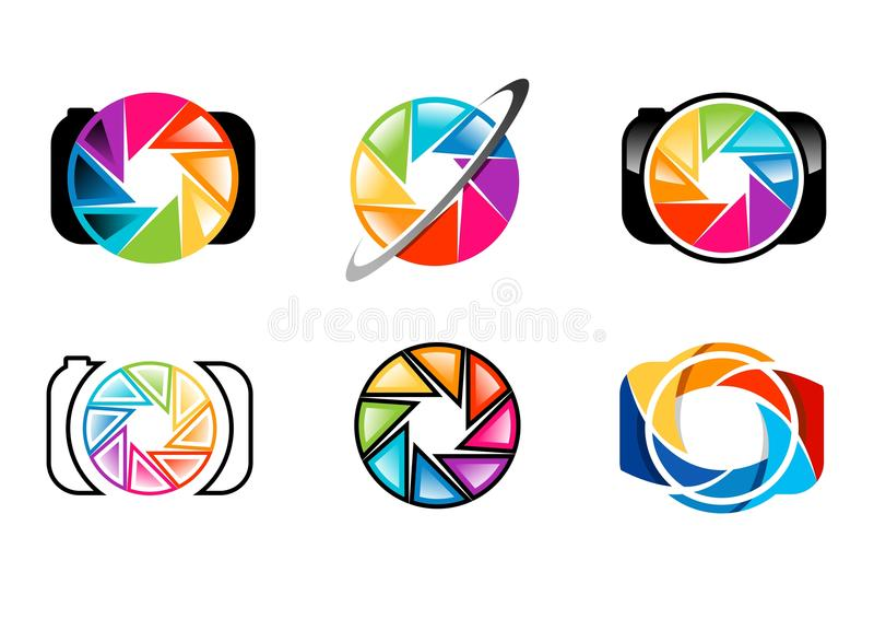 camera, logo, lens, aperture, shutters, rainbow, colorize, set of photography logo concept symbol icon vector design stock illustration