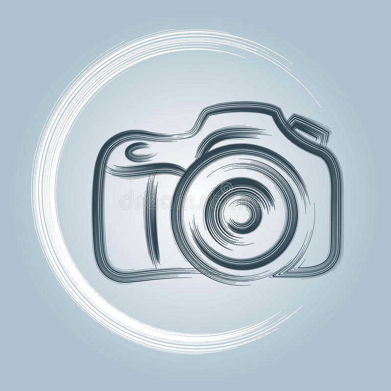 Camera Logo. A photography logo of a camera with a brush and paint feel