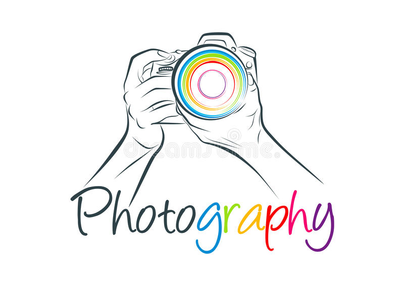Camera logo, photography concept design. An illustration represent camera logo and photography concept design in white background stock illustration