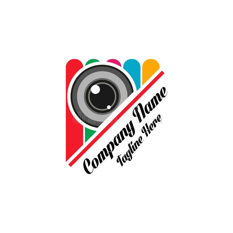 CAMERA LOGO TEMPLATE, VECTOR, ICON, DESIGN,ILLUSTRATION. Access, action, broadcast, cinema, clapboard, clean, clever, creative, director, door, entertainment royalty free illustration