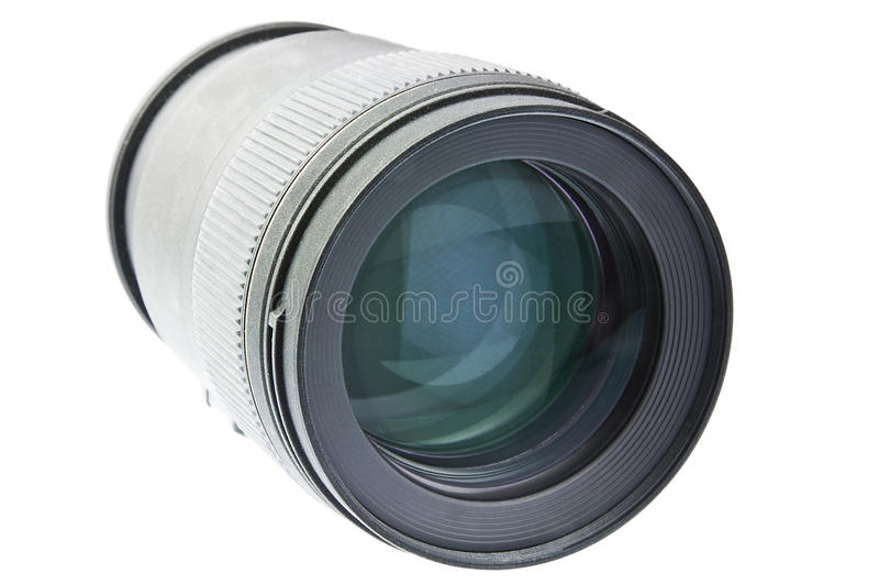 Camera macro lens. View of a macro lens on white background stock photography