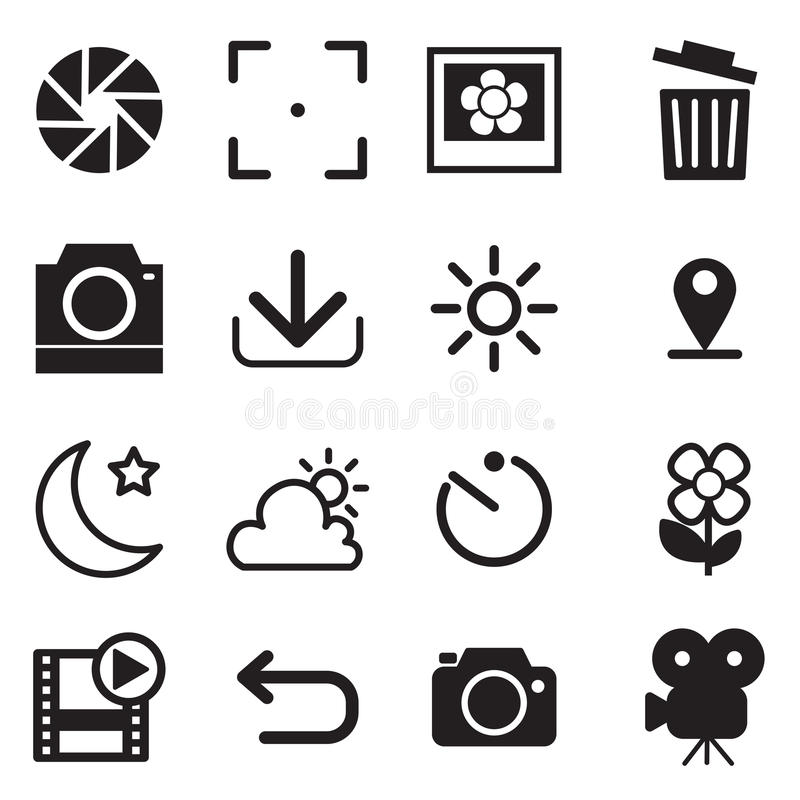 Camera and menu Icons stock illustration