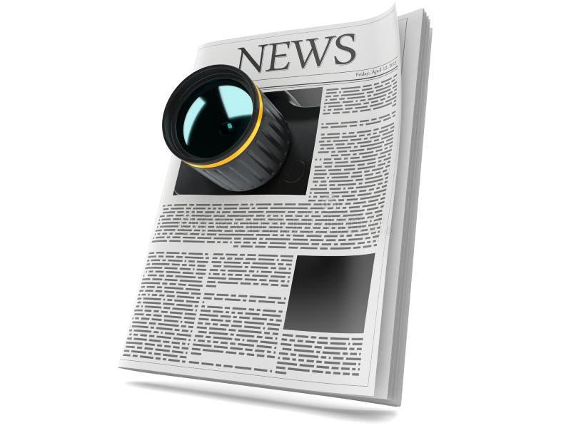 Camera met krant stock illustratie