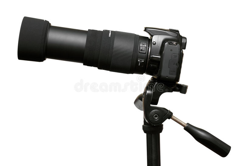 Camera met telephotozoomlens stock afbeelding