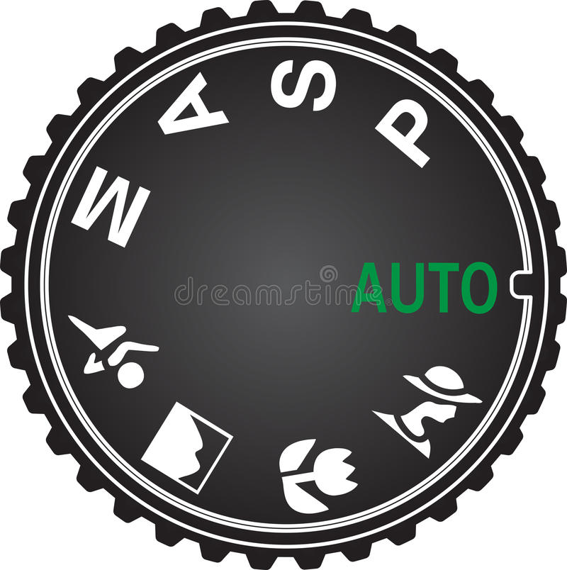 Camera Mode Dial Diagram. Camera mode dial with icons for Auto Focus, Manual, Aperture Priority, Shutter Priority, Program, Portrait, Macro, Landscape and Sports royalty free illustration
