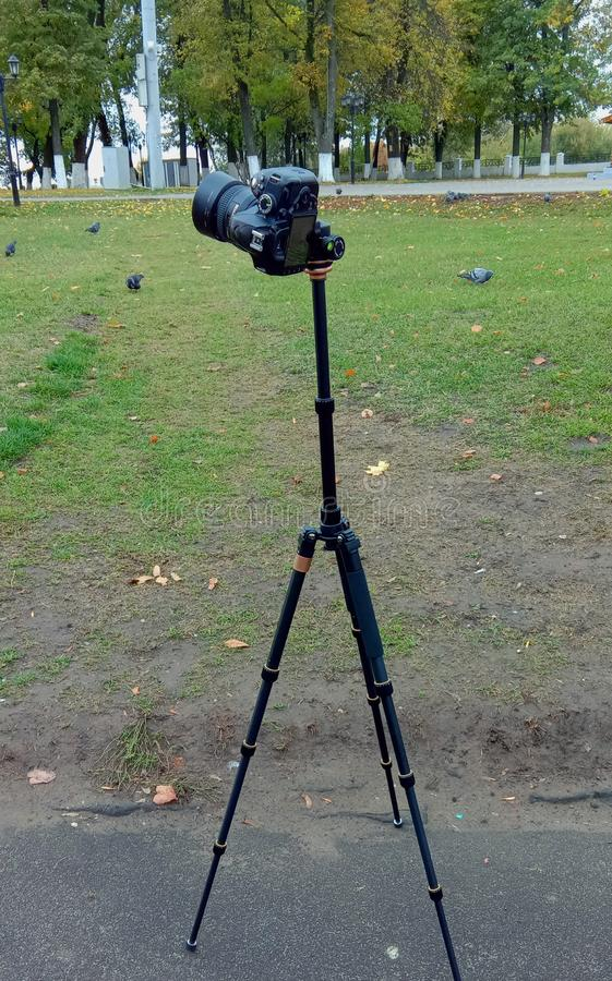 The camera is mounted on a tripod and prepared for the shooting of the landscape. Russia royalty free stock images