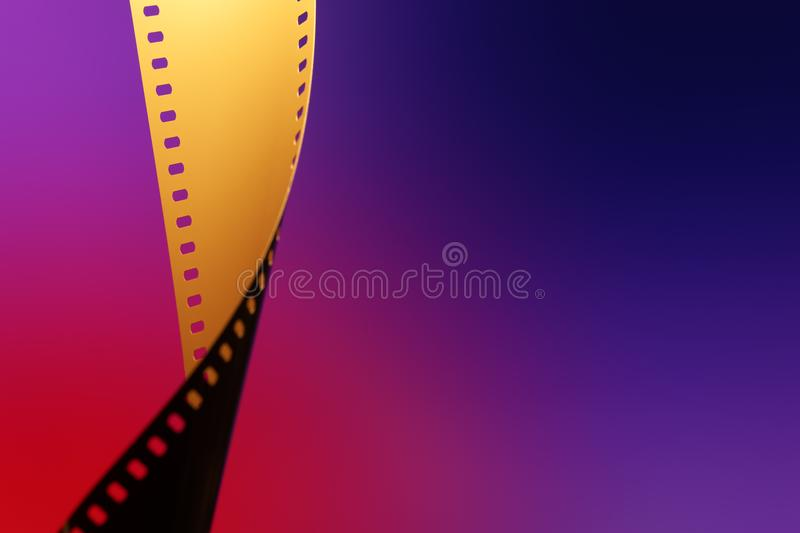 35 mm Motion Picture Film. Camera negative film. Selective focus on film perforation. Unprocessed color motion picture film. Industry symbol for shooting process royalty free stock photography