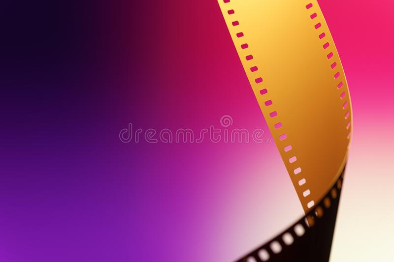 35 mm Motion Picture Film. Camera negative film. Selective focus on film perforation. Unprocessed color motion picture film. Industry symbol for shooting process royalty free stock image