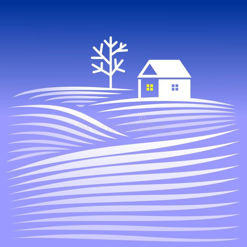Camera nella sera di inverno royalty illustrazione gratis