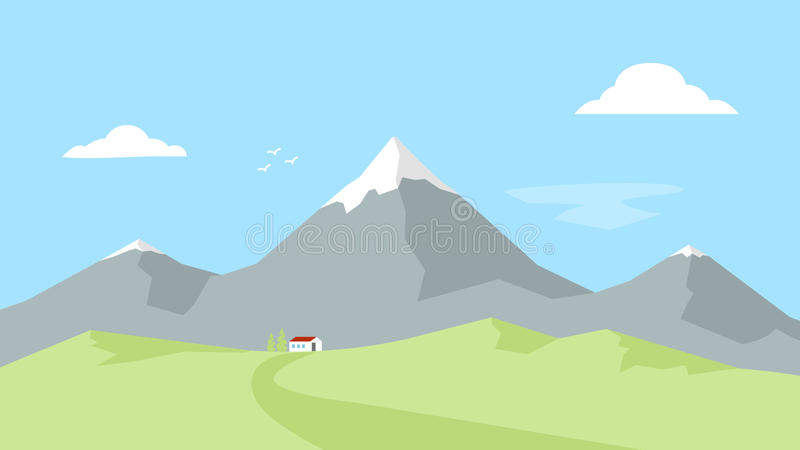Camera nelle montagne Paesaggio con i picchi di montagna Ricreazione esterna Illustrazione piana di vettore illustrazione di stock