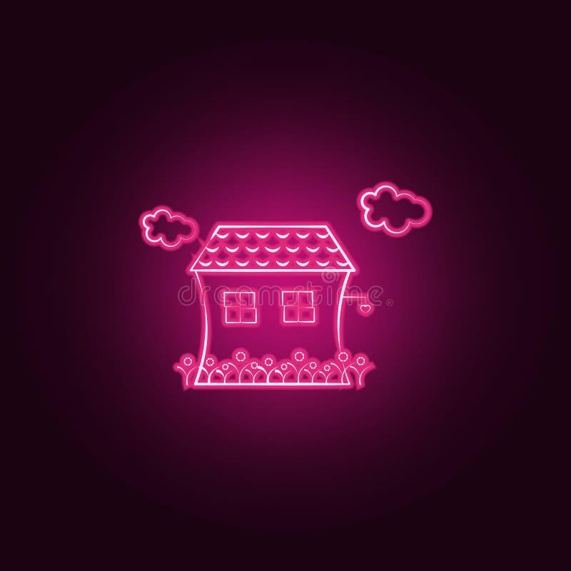Camera, nuvola, icona al neon dei fiori Elementi dell'insieme immaginario della casa E illustrazione di stock