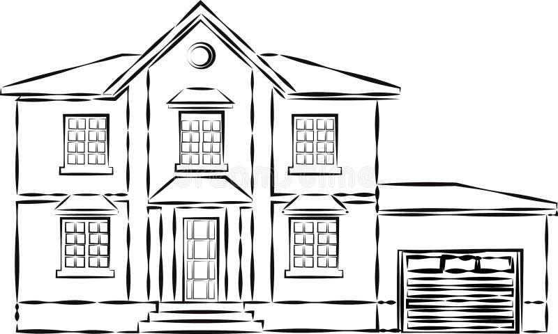 Camera o appartamenti Casa urbana dell'americano della famiglia Vicinanza con le case accoglienti Cottage moderno tradizionale pe royalty illustrazione gratis