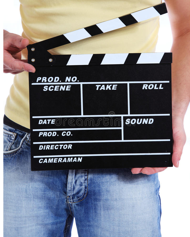 Download Camera Operator Holding Clapperboard Stock Image - Image: 16719243