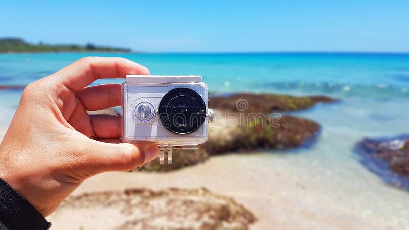 Action camera on the Pacific ocean royalty free stock images