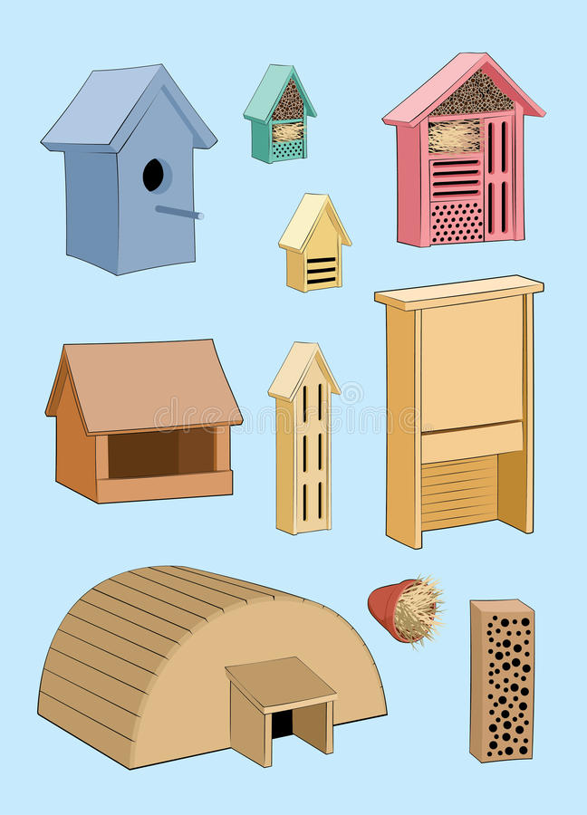 Camera per gli uccelli, l'istrice e l'insetto casa del giardino royalty illustrazione gratis