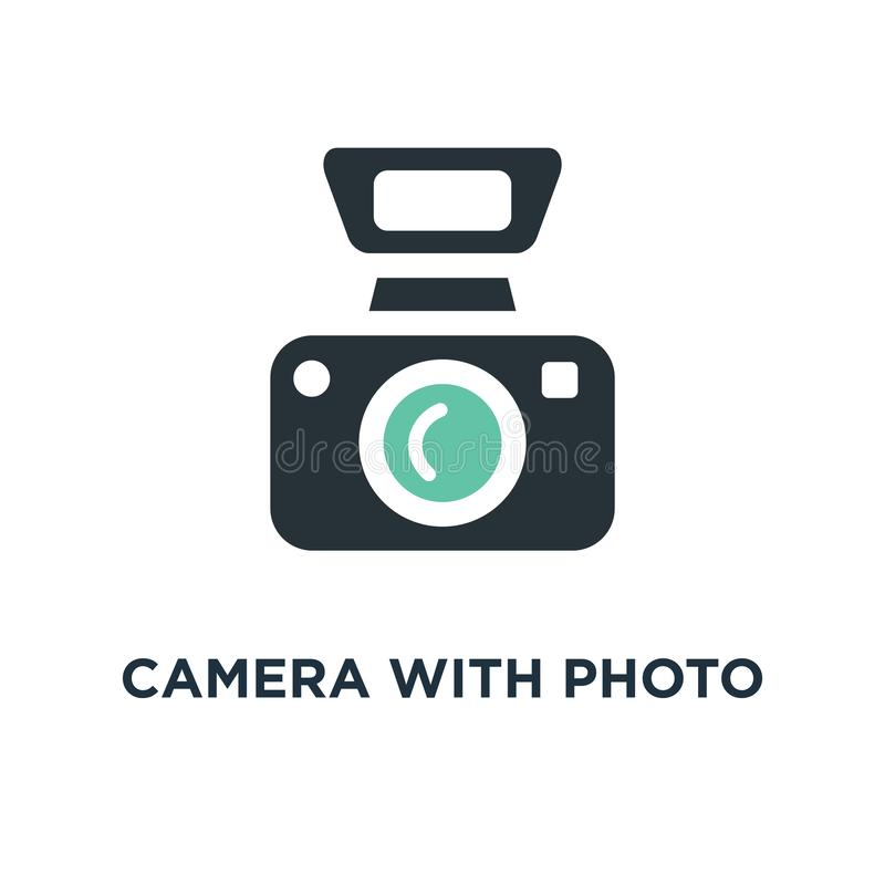 camera with photo icon. photography concept symbol design, digital photo camera with image, photographer equipment vector royalty free illustration
