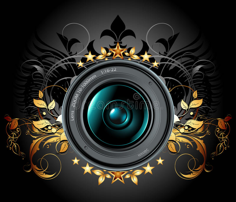 Camera photo lens with ornamental elements royalty free illustration