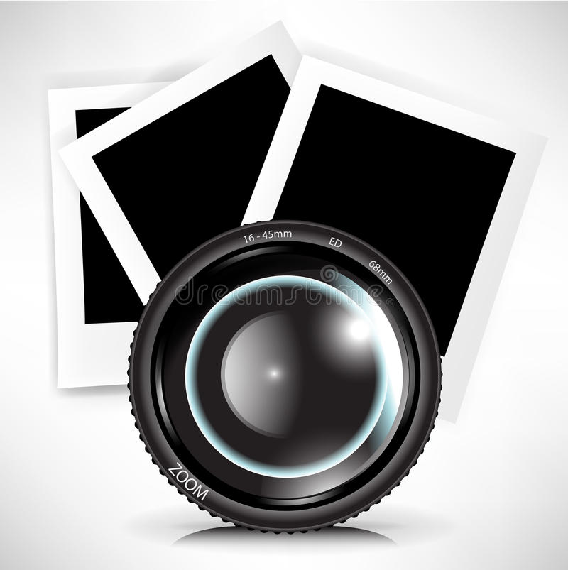 Camera photo lens with photograph stock illustration