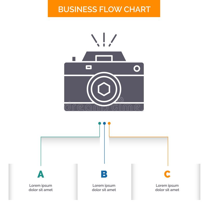 Camera, photography, capture, photo, aperture Business Flow Chart Design with 3 Steps. Glyph Icon For Presentation Background. Template Place for text.. Vector royalty free illustration