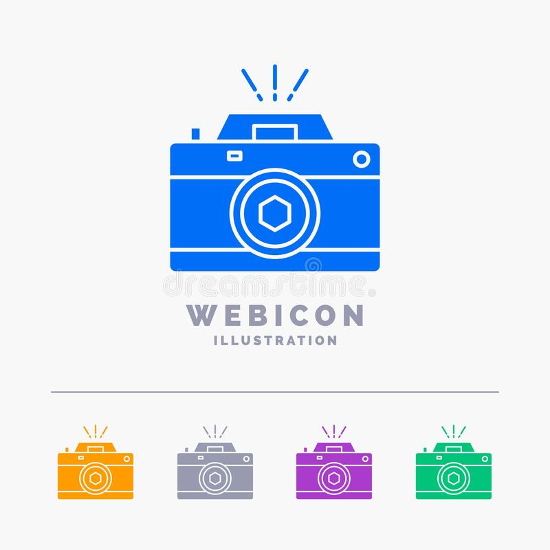 Camera, photography, capture, photo, aperture 5 Color Glyph Web Icon Template isolated on white. Vector illustration. Vector EPS10 Abstract Template background stock illustration