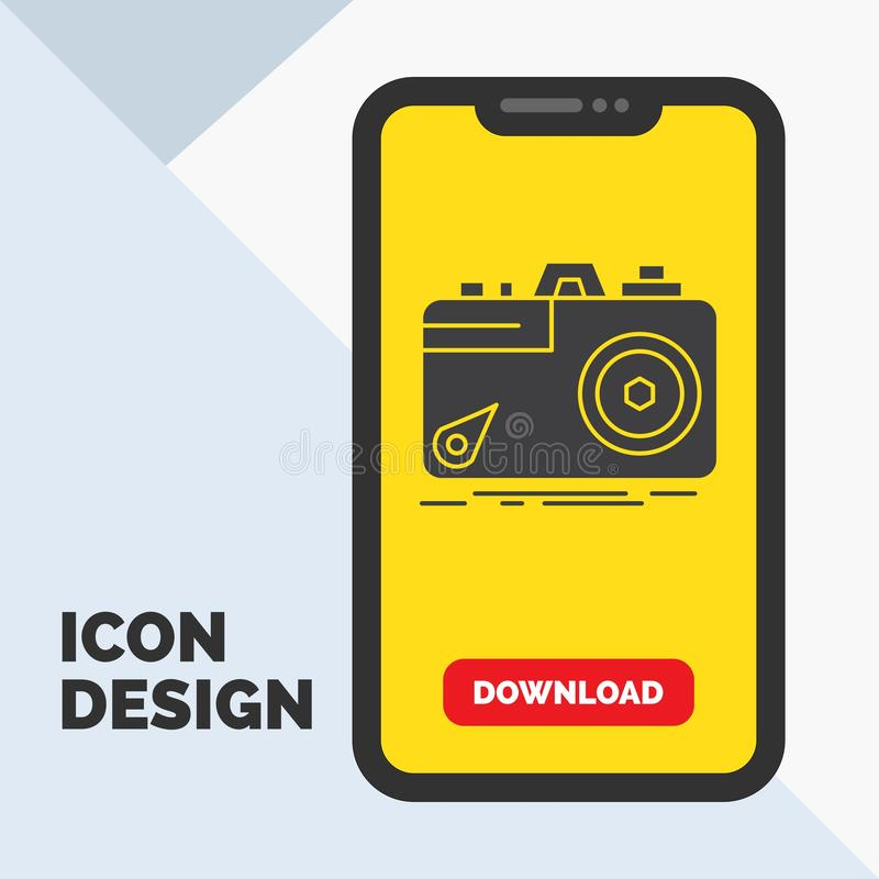 Camera, photography, capture, photo, aperture Glyph Icon in Mobile for Download Page. Yellow Background. Vector EPS10 Abstract Template background stock illustration