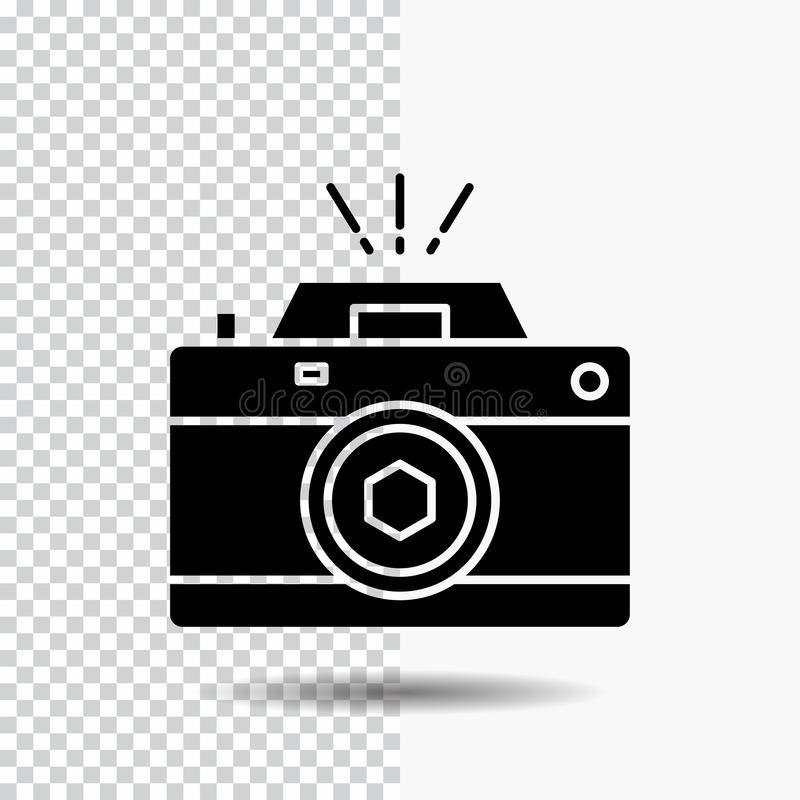 Camera, photography, capture, photo, aperture Glyph Icon on Transparent Background. Black Icon. Vector EPS10 Abstract Template background royalty free illustration