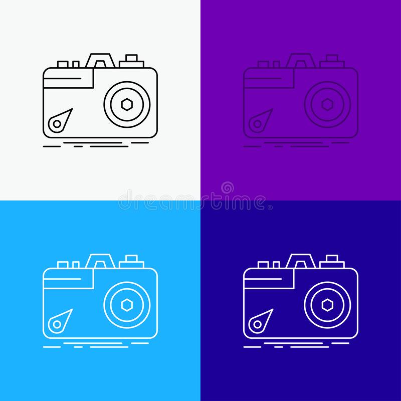 Camera, photography, capture, photo, aperture Icon Over Various Background. Line style design, designed for web and app. Eps 10. Vector illustration. Vector stock illustration