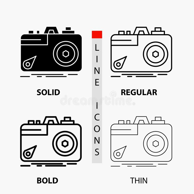 Camera, photography, capture, photo, aperture Icon in Thin, Regular, Bold Line and Glyph Style. Vector illustration. Vector EPS10 Abstract Template background royalty free illustration