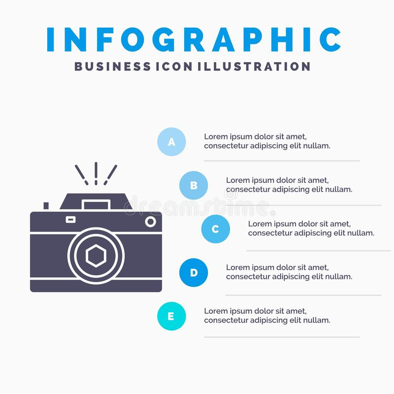 Camera, photography, capture, photo, aperture Infographics Template for Website and Presentation. GLyph Gray icon with Blue. Infographic style vector royalty free illustration