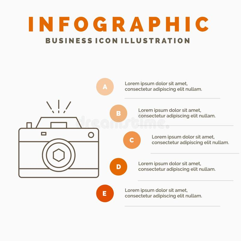 Camera, photography, capture, photo, aperture Infographics Template for Website and Presentation. Line Gray icon with Orange. Infographic style vector vector illustration