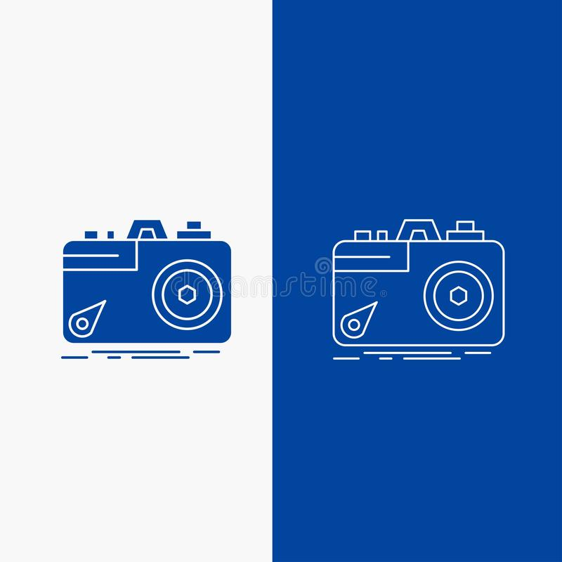 Camera, photography, capture, photo, aperture Line and Glyph web Button in Blue color Vertical Banner for UI and UX, website or. Mobile application. Vector royalty free illustration