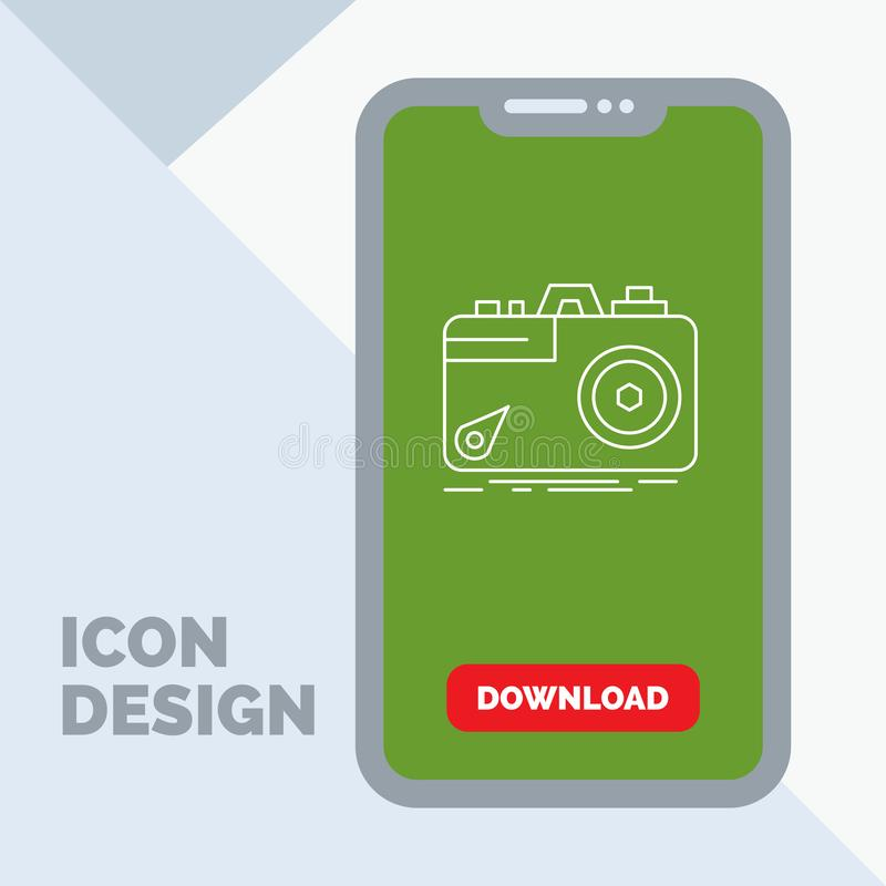 Camera, photography, capture, photo, aperture Line Icon in Mobile for Download Page. Vector EPS10 Abstract Template background royalty free illustration