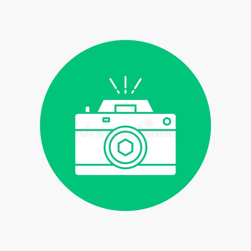 Camera, photography, capture, photo, aperture White Glyph Icon in Circle. Vector Button illustration. Vector EPS10 Abstract Template background royalty free illustration