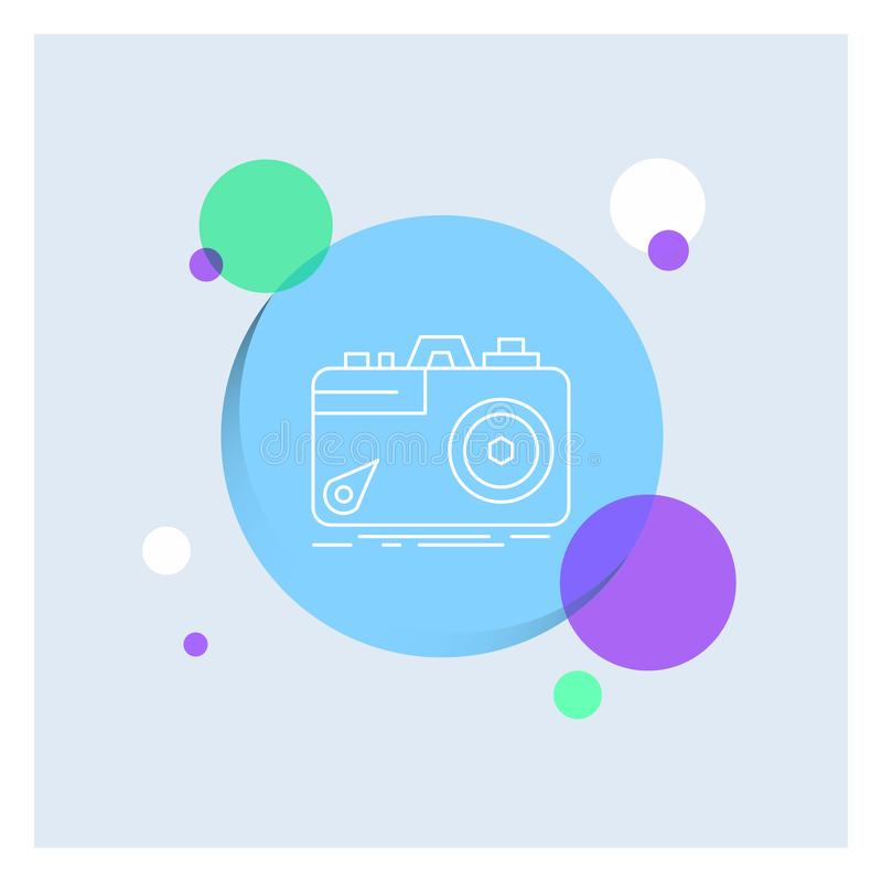 Camera, photography, capture, photo, aperture White Line Icon colorful Circle Background. Vector EPS10 Abstract Template background stock illustration