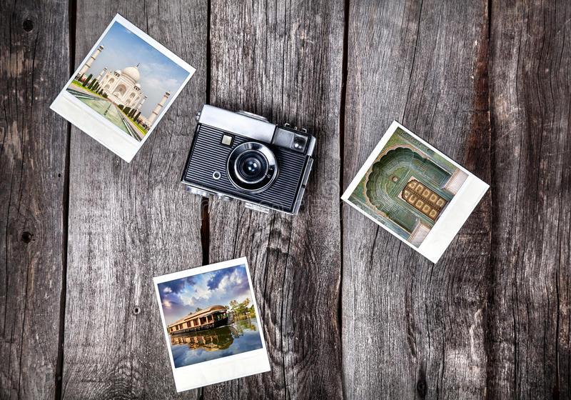 Camera and photos of India stock images