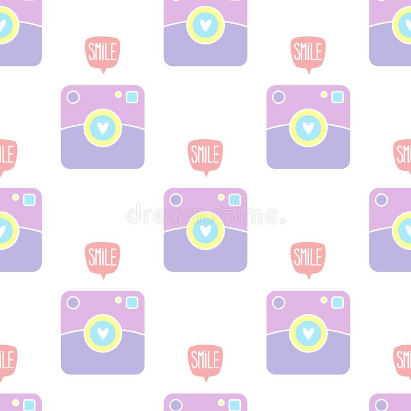 Camera polaroid icon smile pattern vector illustration