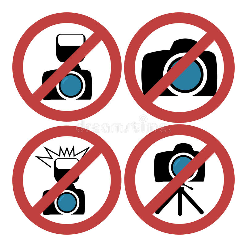 Camera prohibiting signs set illustration set stock illustration