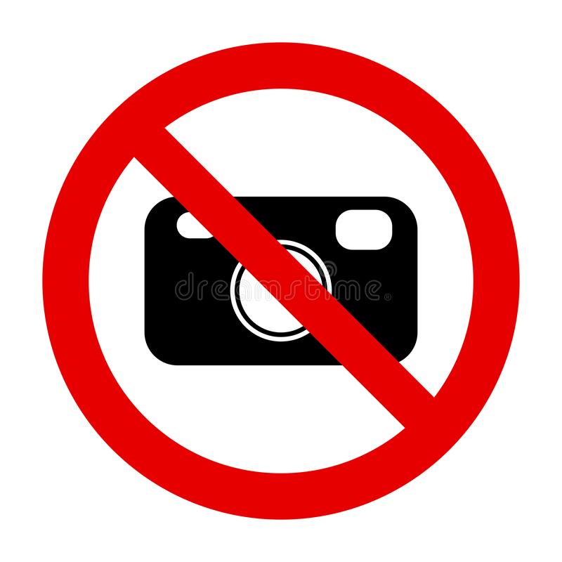 Camera and prohibition sign. As vector illustration vector illustration