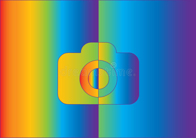 Camera rainbow different colors background rainbow. Camer different rainbow comic different colors royalty free illustration